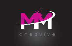 Millimètre M M Creative Letters Design avec les couleurs roses blanches illustration libre de droits