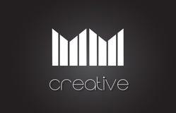 Millimètre M M Letter Logo Design With White et lignes noires Photos libres de droits