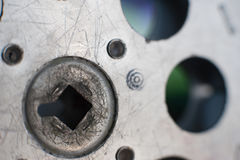 16 Millimeter-Filmprojektionsspulenteil-Extremabschluß oben Stockfoto