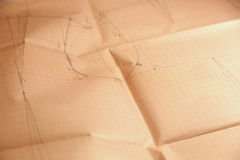 Millimeter grid paper with drawing. Photo of Millimeter grid paper with drawing royalty free stock photography