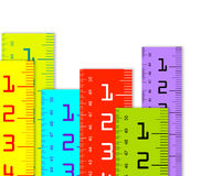 Millimeter and inch rulers. Colorful Millimeter and inch rulers isolated on a white background Stock Photography
