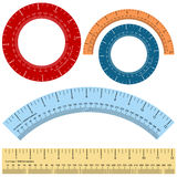 Millimeter Inches Ruler Shape Set Stock Photos