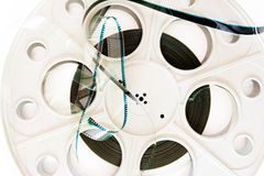 35 Millimeter-Kinofilmspule mit Filmdetail Lizenzfreies Stockbild