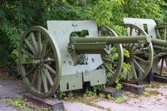 75-Millimeter-Militärkanone von 1897 (die Trophäe der roten Armee während des Krieges mit Polen im Jahre 1920) Russisch-Politurkr Stockbild