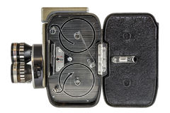 8 millimeter movie camera. Inside a Vintage movie camera on a white background with path included royalty free stock images
