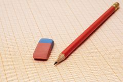 On a millimeter paper there is a simple pencil and an eraser close-up. On the millimeter paper lie an eraser and a simple pencil close-up royalty free stock image