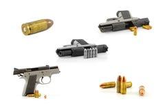 9-Millimeter-schwarze Pistole lokalisiert auf einem weißen Hintergrund Stockfotos