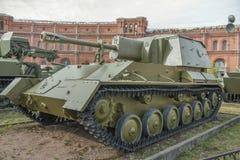 76-millimetro pistola automotrice SU-76M (1943) Peso, chilogrammo: installazione Immagini Stock Libere da Diritti