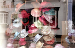 Milliner's window. Display royalty free stock image