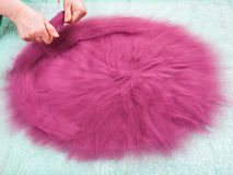 Milliner Spreads The Second Layer Of Wool Fibers Royalty Free Stock Photography