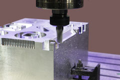 Milling aluminum parts Stock Photography