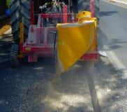 Milling of asphalt for road reconstruction Stock Image