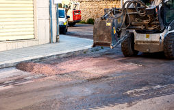 Milling of asphalt for road reconstruction accessory Stock Photos
