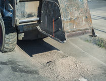 Milling of asphalt for road reconstruction accessory Royalty Free Stock Images
