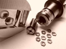 Milling chuck, collet, insert Stock Image