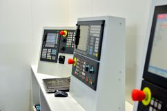 Milling CNC machine control panel with display. Selective focus royalty free stock photography