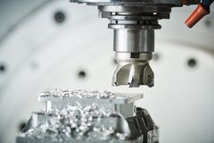 Milling at CNC machine. industrial metalworking cutting process by cutter Stock Photo