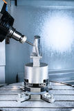Milling CNC machining center produces the turbine blade. Royalty Free Stock Photo