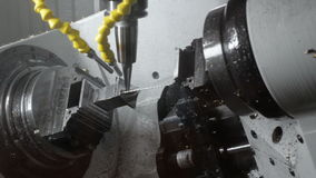 Milling CNC machining center produces the turbine blade. stock video footage