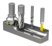 The milling cutters. 3d generated picture of some milling cutters royalty free illustration