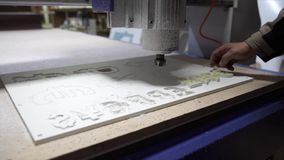 Milling cutting machine makes currency sings stock video