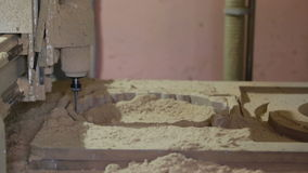 Milling cutting machine makes in wood. Pound stock video footage