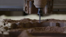 Milling cutting machine makes in wood. Pound stock footage