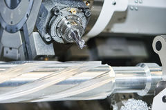 Milling cutting process. CNC metalwork machining by mill cutter Stock Photos
