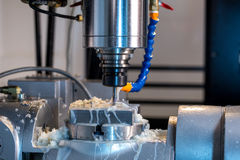 Milling machine. Close-up of grease on cutter Stock Image