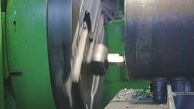 Milling machine detail stock footage
