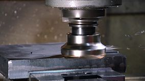 The milling machine. Industrial details. Milling machine in action stock video