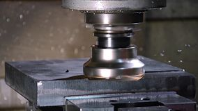 Milling machine. Industrial details, milling machine in action stock video