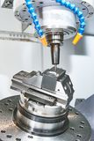 Milling machine. industrial metalworking cutting process by milling cutter Royalty Free Stock Photography