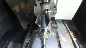Milling machine from the inside. Industrial production, heavy machinery. Gopro action camera stock footage