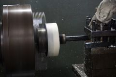 Milling machine process Royalty Free Stock Image