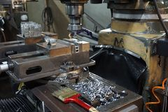 Milling machine process stock images