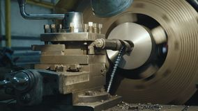 Milling machine produces metal detail. On factory. Deep field of view. Heavy industry concept video stock video