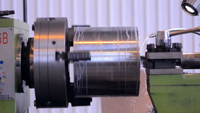 A milling machine working factory workshop makes stock footage