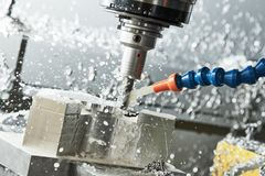 Milling metalworking process. Industrial CNC metal machining by vertical mill. Milling metalworking process. Industrial CNC machining of metal detail by cutting royalty free stock photography