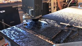 Milling plastic in three axis CNC machine. Timelapse. stock video footage