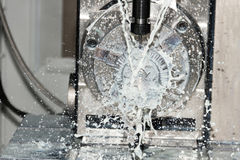 Milling process of metal detail on CNC machine Royalty Free Stock Photo