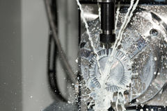 Milling process of metal detail on CNC machine Stock Photography