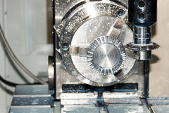 Milling process of metal detail on CNC machine Royalty Free Stock Photography