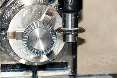 Milling process of metal detail on CNC machine Stock Images