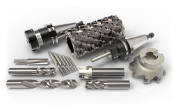 Milling tools. Metal milling tools for cnc machine on white background 3D rendering royalty free illustration