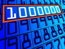 Million. On a blue background, the table numbers laid out in a series Stock Image