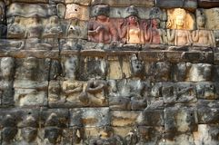 Million carvings. Carved protectorson the terrace of elephants cambodia siem reap Royalty Free Stock Photos