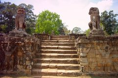 Million carvings. Carved protectorson the terrace of elephants cambodia siem reap Stock Image