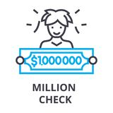 Million check thin line icon, sign, symbol, illustation, linear concept, vector. Million check thin line icon, sign, symbol, illustation, linear concept vector stock illustration