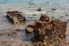 Million de point du dollar, équipement militaire dans le voir, une tache populaire de plongée Luganville-Espiritu Santo île-Vanua Photographie stock